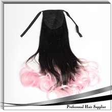 2015 new product deep wave fiber drawstring ponytail