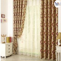 Geometrical pattern jacquard blackout curtain fabric for hotel curtain, interior decoration flame retardant fabric wholesale