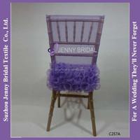 C257A crinkle organza purple chair head covers