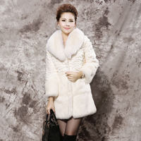 rex rabbit fur with fox fur collar long design real rabbit fur coat jackets for ladies