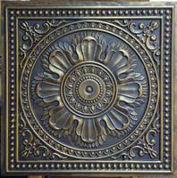 faux tin embossed ceiling tiles ancient gold Decorative backsplash wall panels PL17
