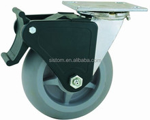 44 Series Double Ball Raceway Structure Top Plate Swivel Grey TPR Caster with Nylon Top Lock Brake