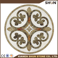Natural stone Marble Waterjet Cutting Medallion Designs,yellow medallion round shape waterjet marble medallion
