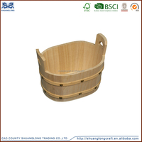 Wholesale antique wooden water bucket with handle