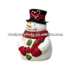 ceramic decorative snowman candy jar