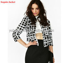 2013 Ladies Fashion Check In Squin Jacket