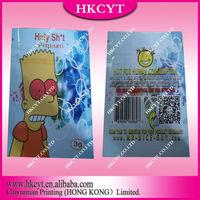 Custom printed plastic foil packaging bag with zipper / Holy Shit 3g aluminum foil packaging bag / potpourri packaging bags