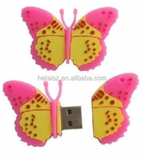 Cartoon Butterfly USB flash drive, insect style Memory Stick, cusotmized pen Drive 8GB 16GB 32GB