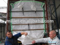 PP woven dry bulk container liner bag for 20'/40' container with fast discharge spout
