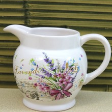 white with flower design ceramic pitcher for water and beer