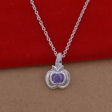 2016 New Products Sterling Silver Wholesale Necklace Purple Jewelry Gifts for Newly Married Couple