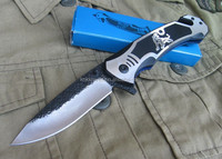 top quality premium handmade handcrafted hammer forged blade tiger spring assist open folding rescue knife