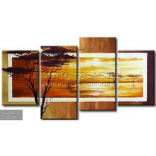 Handmade New Modern Group African landscape oil painting,Africa in photographic lens