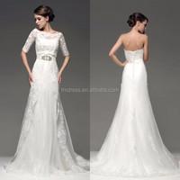 Custom Made Half Sleeve Appliqued Lace Wedding Dresses Removable Skirt ME084