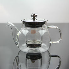 High quality 400ml high borosilcate clear glass tea pot with handle , clear glass tea pot with metal lid wholesale