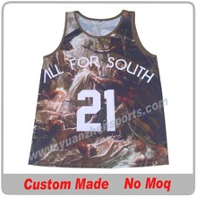 sublimated printing camouflage basketball jersey custom made with team logo, number and name