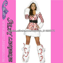 ML8035 vestido de rayas con capucha de manga larga Candy Cane equipo del traje de la Navidad hermosos trajes para las mujeres