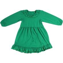 Beautiful plain frock free design baby girls ruffle kids winter long sleeves dress