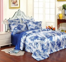 queen bed 2015 100% linen chinese silk bedding set/ home textile/bed linen