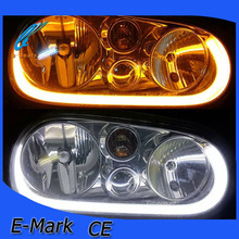 Dual color led flexible drl,600mm 850mm white+yellow led flexible day time running light