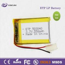 Flexible lipo battery for bluetooth, smallest 3.7v 550 mah li polymer battery