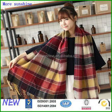 knitted plaid scarf knitted plaid scarf neckerchief with fringe