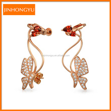 Fashion Rose Gold Plated Clip-on Earrings With Butterfly Zircon YER0745