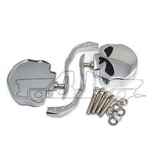 BJ-RM-354 Custom billet aluminum stem skull style shape chrome mirror motorcycle