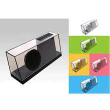 New creation acrylic transparent shell fashion speaker with radio FM bluetooth
