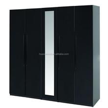 MZ-1540 original equipment manufacturer black color medium mirror five door wardrobe