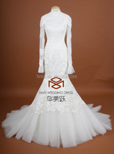 SuzhouHMY-S091 Real Images Customized Full Lace Mermaid High Neck Appliques Backless Long Sleeves Bride Dress Wedding Dress 2015