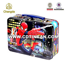 Rectangle handle cosmetic tin suitcase