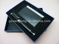 GFT025 Logo Promotional metal ball pen and Luxury business name card holder gift set can make your logo promotional gift set