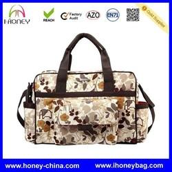low price Designer Floral Pattern stylish microfiber diaper bag for mommy