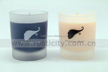Multi color branded scented candles in frosted glass and cotton wick
