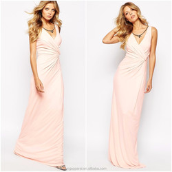 China wholesale deep V-neck wrap front slim fit women white party chiffon maxi dresses