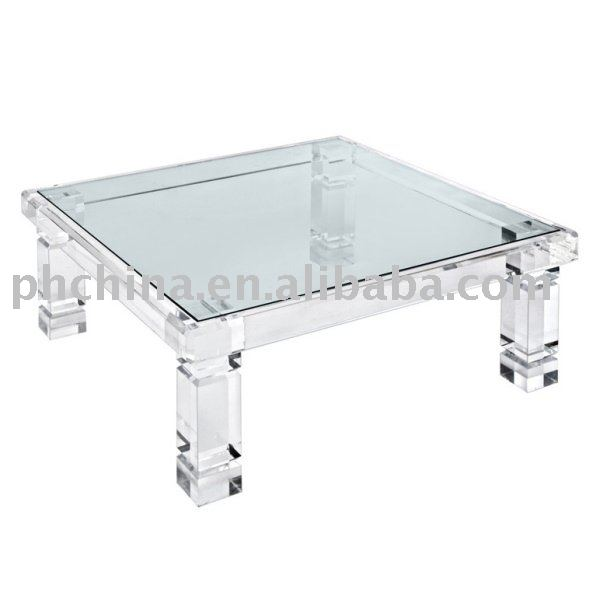 Acrylic Coffee Table Top: Clear Acrylic Adrienne Coffee Table With Glass Top;Clear