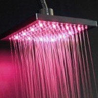 8 Inch LED Round Shower Head Top Spray 3 Colors RGB Temperature Control Shower Head