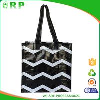 Best quality leisure printed white black stripe shopping bag foldable