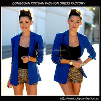 Classic Solid Blue Blazer for Women