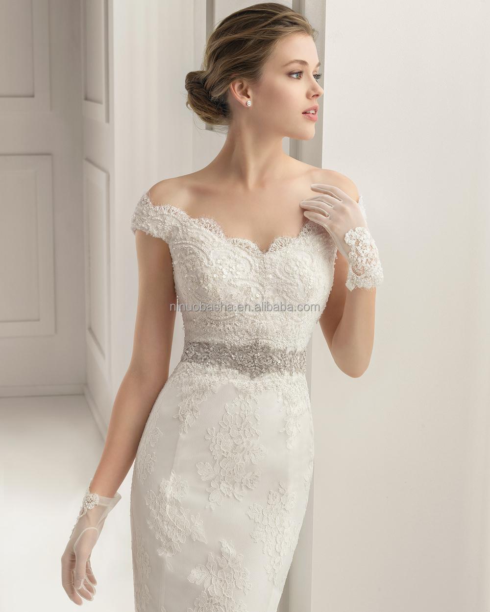 Stylish 2015 Lace Mermaid Wedding Dress V-neck Off-shoulder Cap ...