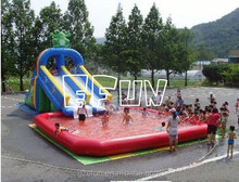 Inflatable commercial water park aqua float slide with pool fun water park