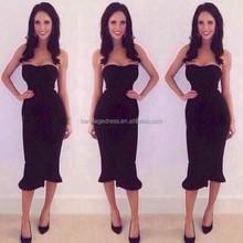 2015 new arrival women high quality black strapless fluted hem bandage dress wholesale red blue nude