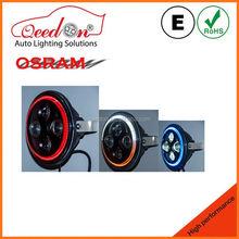 Qeedon oem peças 7 polegada preto e speaker chrome em uma motocicleta