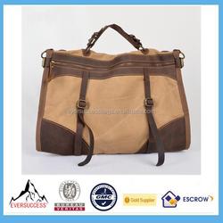 Large Vintage Canvas Leather Men Travel Carry Bag Luggage Duffle Bag
