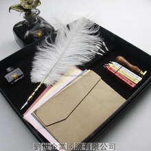 Ostrich Feather fountain Pen nibs & wax sealing & stamp & Ink Bottle & Gift box