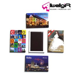 promotion tin material photo frame fridge magnet