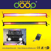 2015 Remote control white blue red amber led light bar, 288W 50inch 24480lm RGB light bar with optional wiring harness