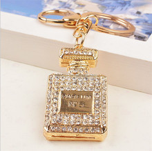 500pcs Luxury 3D Perfume Bottle Bling Crystal Zinc Alloy Keychain Key Ring chain DHL Freeshipping