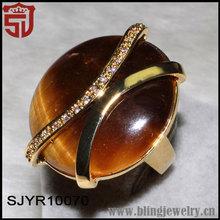 De oro 18k joyeríacz diente de tigre- piedra de ojo de venta al por mayor anillos